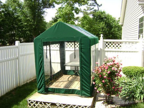 Greenhouse made from Sunbrella fabric & clear vinyl