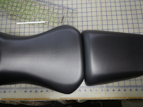 Ninja Motorcycle Seat after re-upholstery by Anchor Stitch Marine Upholstery & More, Easley, SC